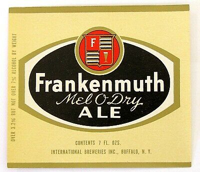 International Breweries FRANKENMUTH MELO O DRY ALE beer label NY 7oz ABW 3.2-7%