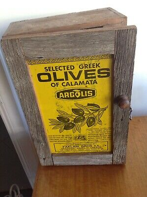 Rustic Hand Made Wooden Cabinet Kitchen Spice Olive Tin Advertising Sign
