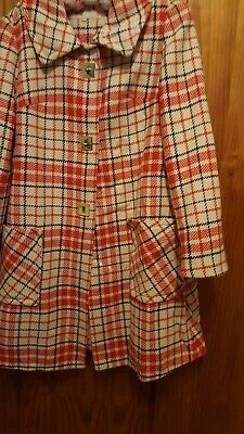 Vintage 50s-60s red, blue and cream wool swing coat.  Size M