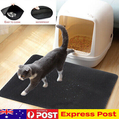 Double-Layer Waterproof Pet Cat Litter Mat Foldable Trapper Pad Pet Rug Home AU