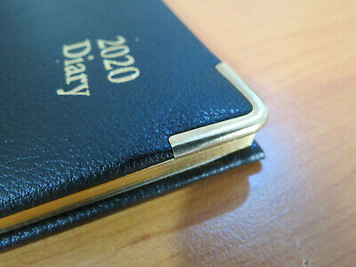 Diary 2020 A5 Week to View Executive Leather-look Black with Gold Trim and Edges