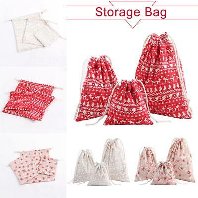 Christmas Candy Party Storage Bag Cotton Linen Drawstring Tea Gifts Bundle Bags