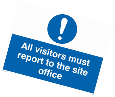 "Viking Signs MC5397-A3L-AC""All Visitors Must Report To Site Office"" Sign, Alumin"