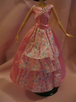 Barbie Clothes Dress Gown - Pink With Tiered Skirt Insert (Doll Not Included)