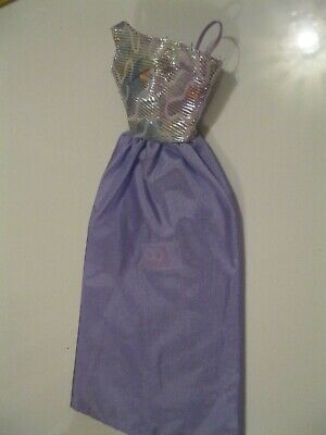 Barbie Clothes Dress Gown - Lilac Skirt Silver Bodice (Doll Not Included)