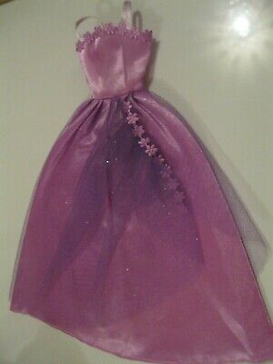 Barbie Clothes Dress Gown - Purple With Net Apron  (Doll Not Included)