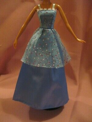 Barbie Clothes Dress Gown - Blue With Colourful Spots  (Doll Not Included)