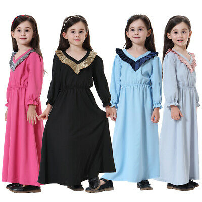 Kids Girls Muslim Islamic Ruffle Long Sleeve V-neck Maxi Dress Thobe Arab Robe