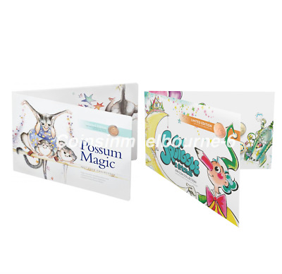 Mr Squiggle 2019 + Possum Magic 2017 Coin Sets - $2 & $1 Dollar UNC Australia