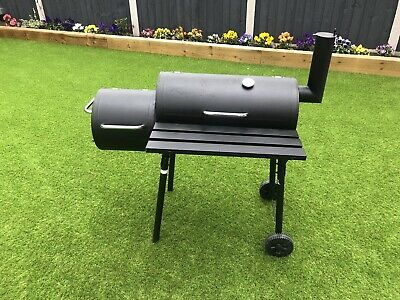 Outdoor Texas Smoker Drum Grill BBQ  Charcoal Wood Barbecue Comes With Cover