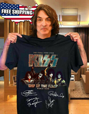 Black  Black Official KISS Band T-Shirt End of the Road Farewell Tour 2019 S-3XL