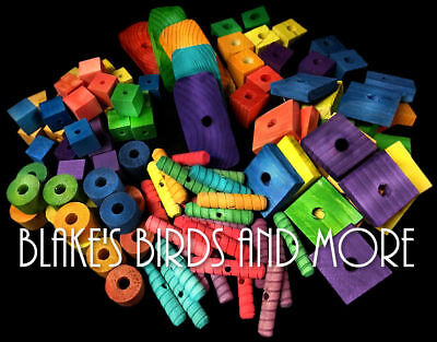 125 Bird Toy Parts Variety Assortment Small to Large Pieces- Wood Blocks