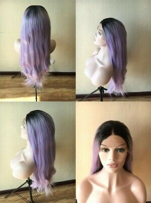 """AU 24"""" Women Straight Ombre Purple Synthetic Fiber Hair Cosplay Lace Front Wig"""