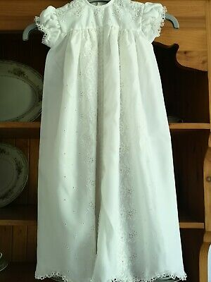 Handmade Ivory Broiderie Anglaise Christening Gown