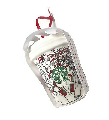 NWT 2017 Starbucks Red Dot Holiday Tumbler Coffee Cup Christmas Tree Ornament