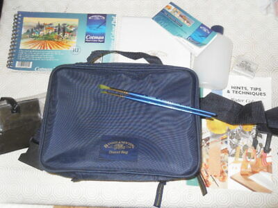 Winsor and Newton Cotman Travel Bag + half pan set box brushes water bottle ++