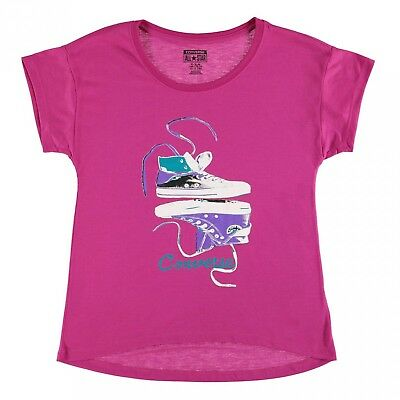 Converse 80T Short Sleeves Tshirt Tee Pink Kids Girls GRAPHIC UK size 8-10 years