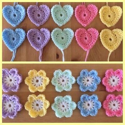 20 CROCHET HEARTS & FLOWERS 10 Of Each 💛 HANDMADE FOR GRANNY SQUARES APPLIQUE