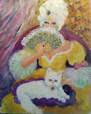 """original painting """" Marie Antoinette with her cat"""" acrylic on canvas size  16x20"""