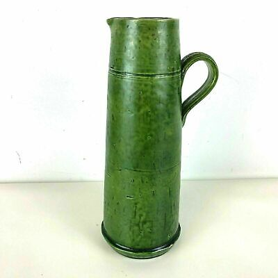 Antique English Majolica Pitcher Tankard Green Glaze Early Arts & Crafts