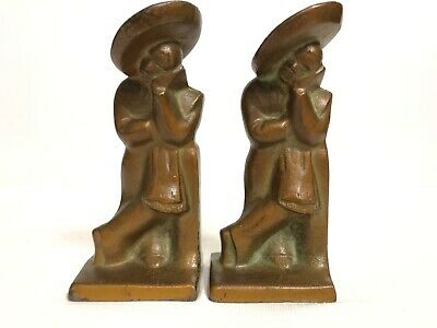 Antique Hubley Cast Iron Metal Lazy Pedro/Siesta Figural Bookends 493 Made/USA