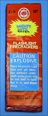"Mighty Mite Flashlight Firecracker Label Red Lantern 1"" X 1/4"" 50s"