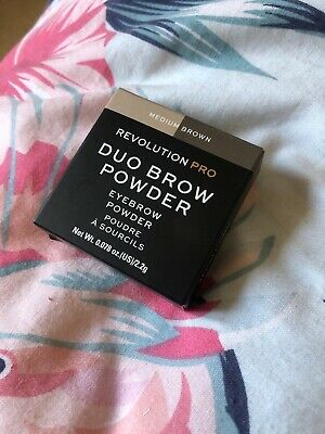 Revolution Pro Duo EyeBrow Powder In Medium Brown LIGHTLY SWATCHED In Box