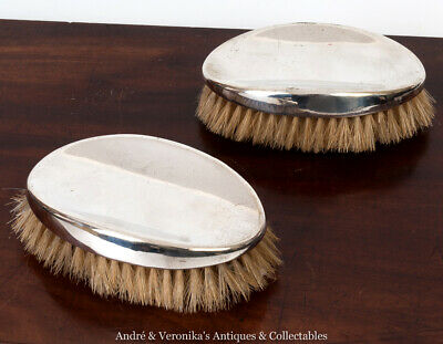 Antique Pair of Silver Plated Clothes / Hair Brushes Plain Concave Oval, Vintage
