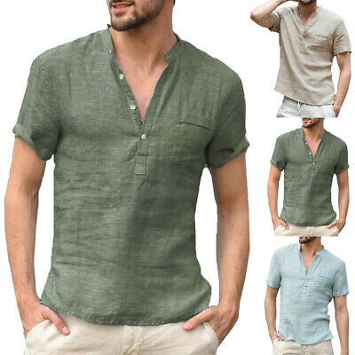 Summer Men's Linen Short Sleeve V-Neck Button Casual T-Shirt  Loose Tops Blouse