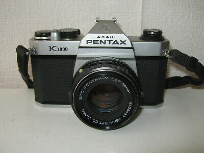 Pentax K1000 classic 35mm SLR camera c/w 50mm f1.7 lens & case. Nice condition.