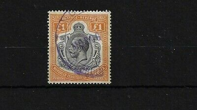 Tanganyika Sg107, £1 Brown - Orange, Used With Fiscal Cancel - Spacefiller