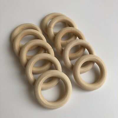 10X Round Unfinished Wood Ring Bead 40mm Teething Donut shape Craft Link