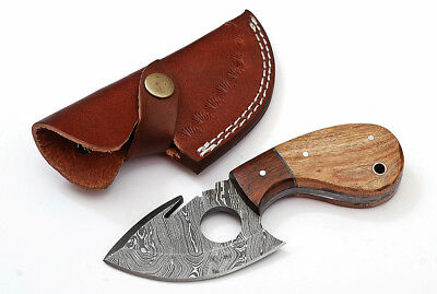 Custom Twist Damascus Steel FULL TANG Gut Hook Skinner Knife Z1A