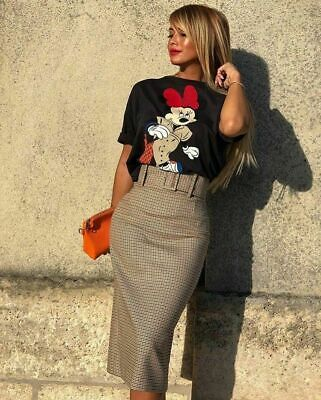 ffd41fcb ZARA GREY CHECKED Patch Embroidered Pencil Midi Skirt Size Xs ...