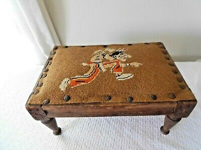 """Antique,Prim. Wood Footstool, Am. Indian Needlepoint, Carving,""""Old West"""" Theme"""