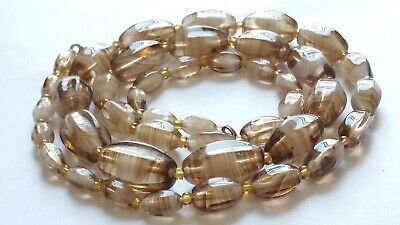 Czech Vintage Art Deco Graduated Oval Swirled Glass Bead Necklace