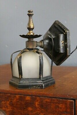 Vintage Black Brass Gothic Wall Sconce Arts Crafts Porch Light Lamp Fixture Old
