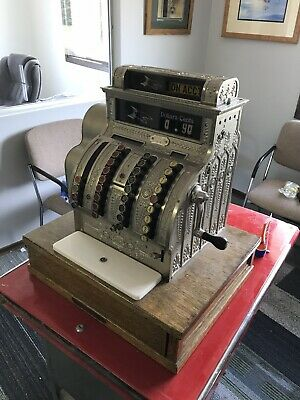 Antique Nickel Or Brass National Cash Register Model 421