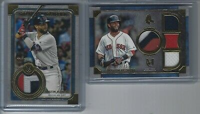 2x Dustin Pedroia 2019 Topps Museum 3 Color Relics 09/25 + 19/25 Boston Red Sox