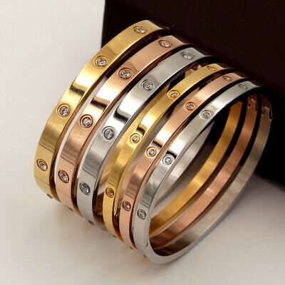 Men And Women Unisex Stainless Steel Love Bangle Bracelets With Screwdriver