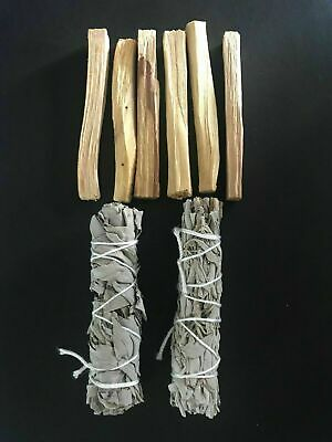 6 Palo Santo Wood & 2 White Sage Smudge Sticks: Cleansing Negativity Removal