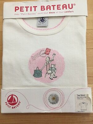 Petit Bateau NWT 100% Cotton Short Sleeve Shirt 2 years, 86cm white /pink design