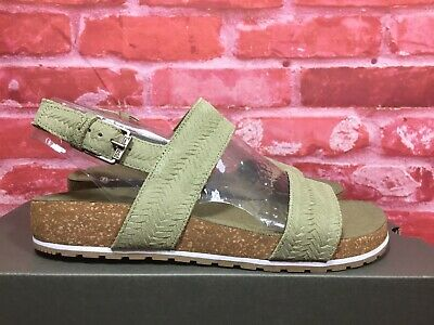 75ce966a3 Timberland Women's Malibu Waves Double-Strap Sandals Olive Embossed Suede  Sz 8.5