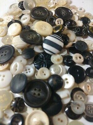 Lot of  ANTIQUE VINTAGE BUTTONS White Black Ivory