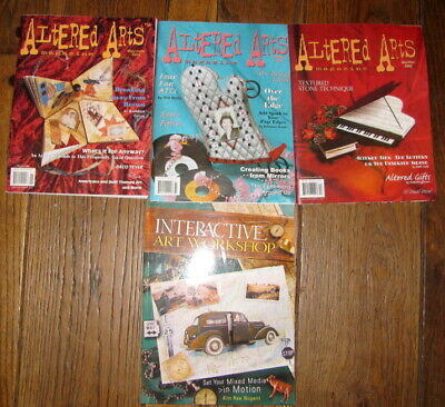 ALTERED ARTS MAGAZINES LOT OF 3 MAGS & 1 BOOK Mixed Media Collage Interactive