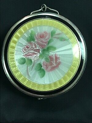 F&B Sterling Antiue Double Sided ENAMEL GUILLOCHE Beautiful Floral Compact Nice!