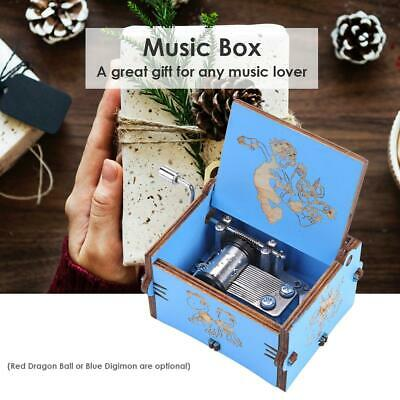 Retro Wooden Hand Cranked Music Box Home Crafts Ornaments Gifts for Children