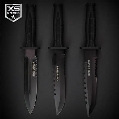 3pc SET Tactical BLACK Combat TANTO Survival DAGGER Hunting BOWIE Knife 11.75""