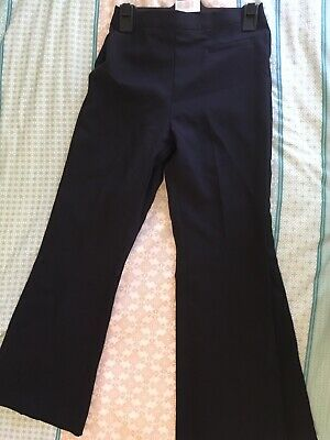 Navy Girls Long School Pants As New Size Age 10 , 12 Flat Front