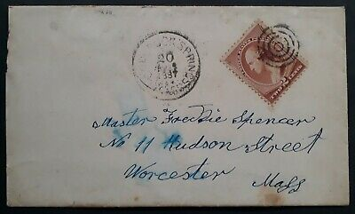 SCARCE 1887 United States Cover ties 2c Washington stamp canc Colbrook Springs